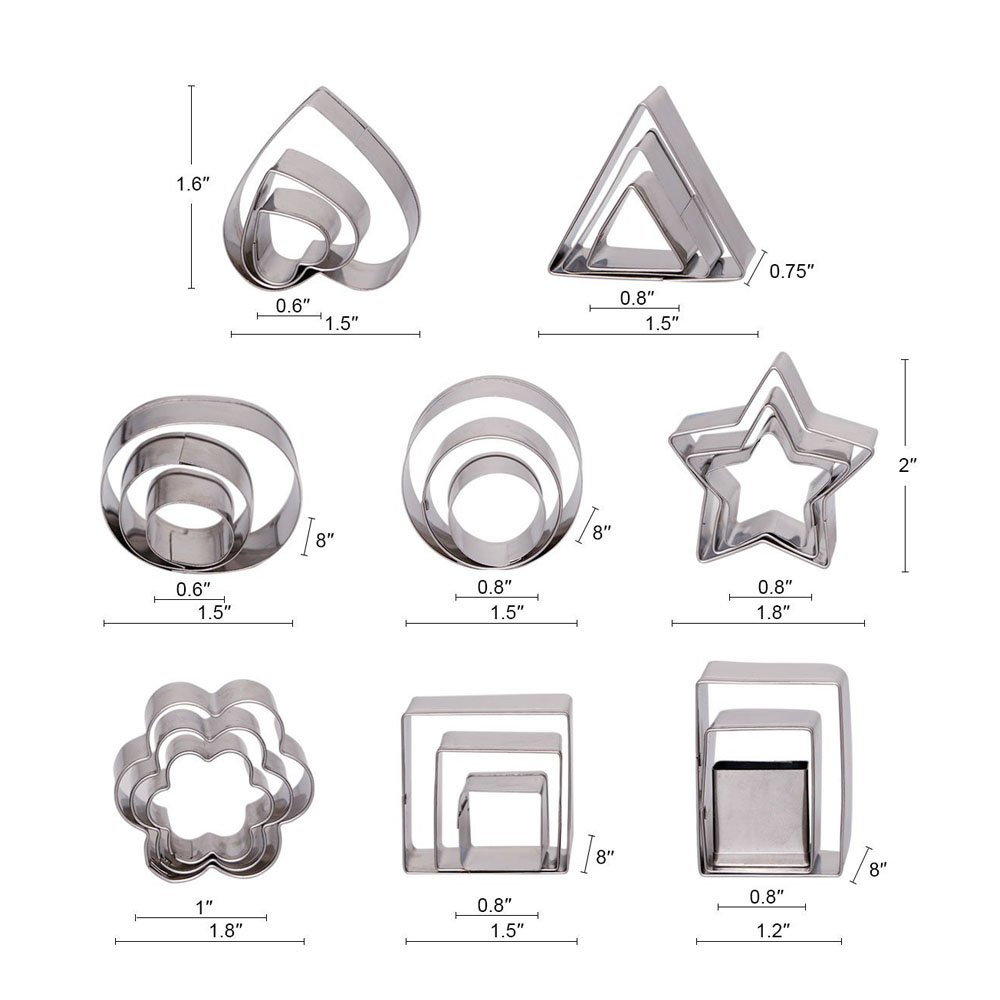 Ertek Biscuit Cookie Cutters Set- 24 Pieces Small Assorted size Stainless Steel Plain Edge Geometric Cutters for Kitchen, Baking, Dessert Plating Design and Molding Cake Decoration