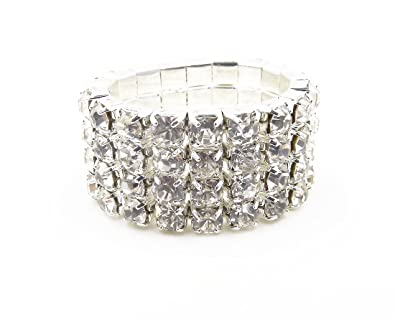 71d7b1d30d921 WTZ - New Sparkling 4 Row Crystal Rhinestone Stretch Ring