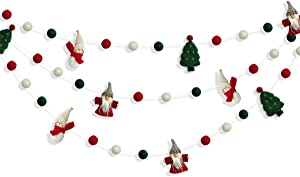 pinkblume Wool Felt Christmas Garland Wool Felt Snowman Xmas Tree Santa Claus Banner Pom Pom Garland Bunting Christmas Decortation for Home Fireplace Windows Indoor Outdoor Christmas Decor
