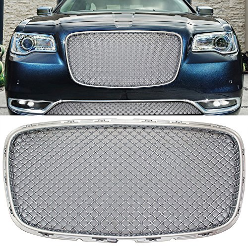 Bentley Grill Chrysler 300 - Grille Fits 2015-2017 Chrysler 300 300C 300S | Bentley Style Chrome Front Upper Bumper Grill Hood Mesh by IKON MOTORSPORTS | 2016