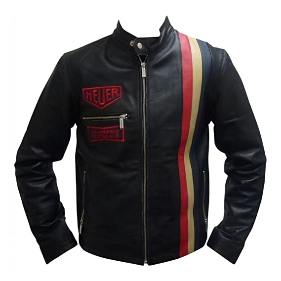 Men's Vintage Style Coats and Jackets Steve McQueen Le Mans Driver Heuer Grandprix Originals Black Leather Jacket $129.95 AT vintagedancer.com