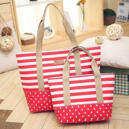Bandolera Bolso Hombro Mujer Bags Totalizador Lona Shoppers Rojo Logobeing Rayas Bolso de Bolso Multicolor U8UwCBq