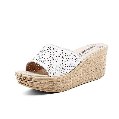 a6fdb5a7c0b0c JITIAN Mules Femmes Talons Hauts Compensés, Sandale Ouverte Chaussure Plage  Confort Sandale Plateforme Blanc 35