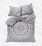 Madhu International Exclusive Gray Black Ombre Mandala Duvet Cover, Bohemian Mandala Duvet Cover, quilt Cover, Handmade Cotton Mandala Duvet Cover