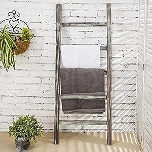 MyGift 4-Foot Decorative Ladder Rustic Barnwood 5-Rung Blanket Holder, Hanging Towel Bar Rack
