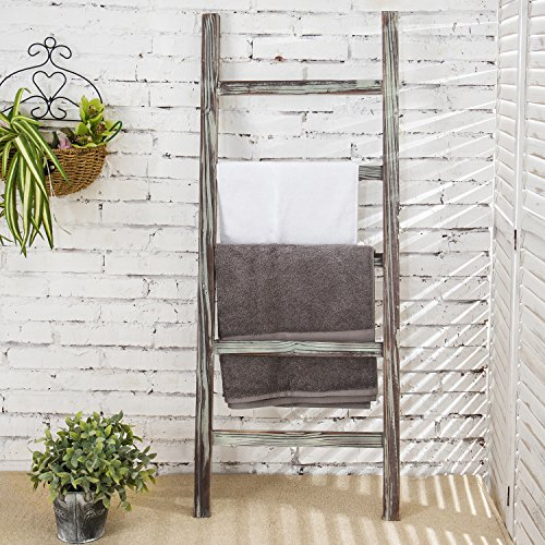 Ladder Magazine Rack (MyGift Decorative Rustic Barnwood 5-Rung Blanket Ladder Organizer, Hanging Towel Bar Rack - 48 x 19-inches)