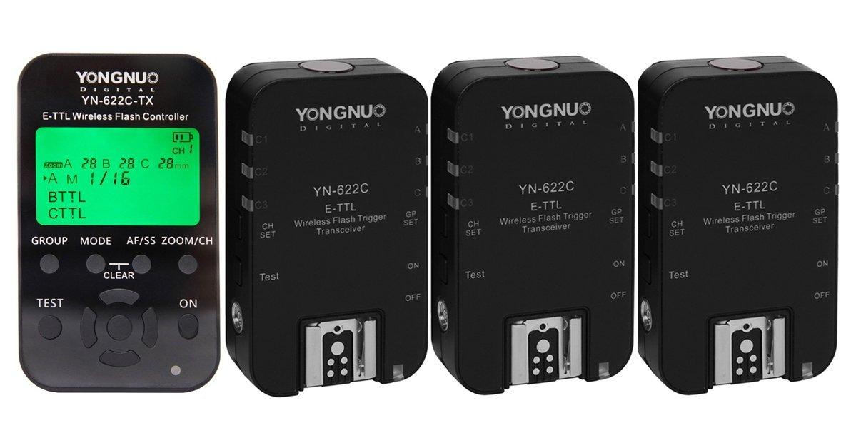 Yongnuo 1pc YN-622C-TX + 3pcs YN-622C E-TTL Wireless Flash Controller Wireless Flash Trigger Transceiver For Canon EOS 50D 60D 70D 7D 5D Mark II 5D Mark III 500D 550D 600D 650D 700D DSLR