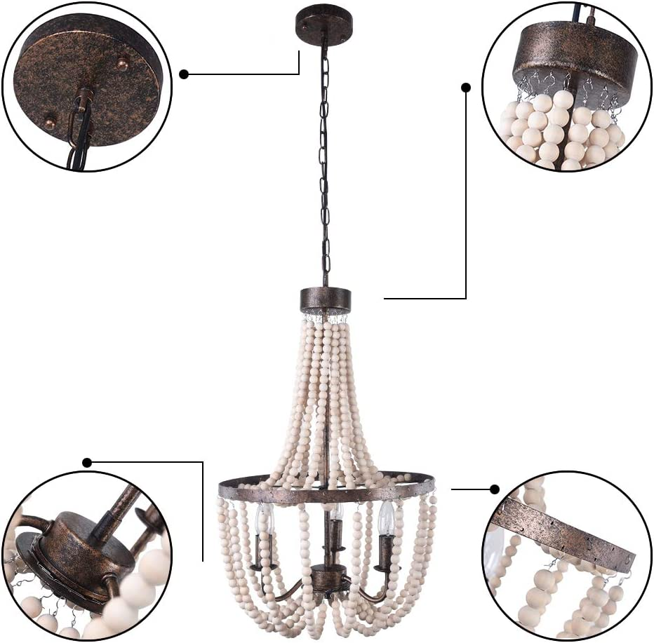 EDISLIVE 3-Lights Farmhouse Pendant Light Wooden Beads Rustic Chandelier Rust Pendant Light Fixture Metal Island Indoor Lighting for Living Room Restaurant Kitchen