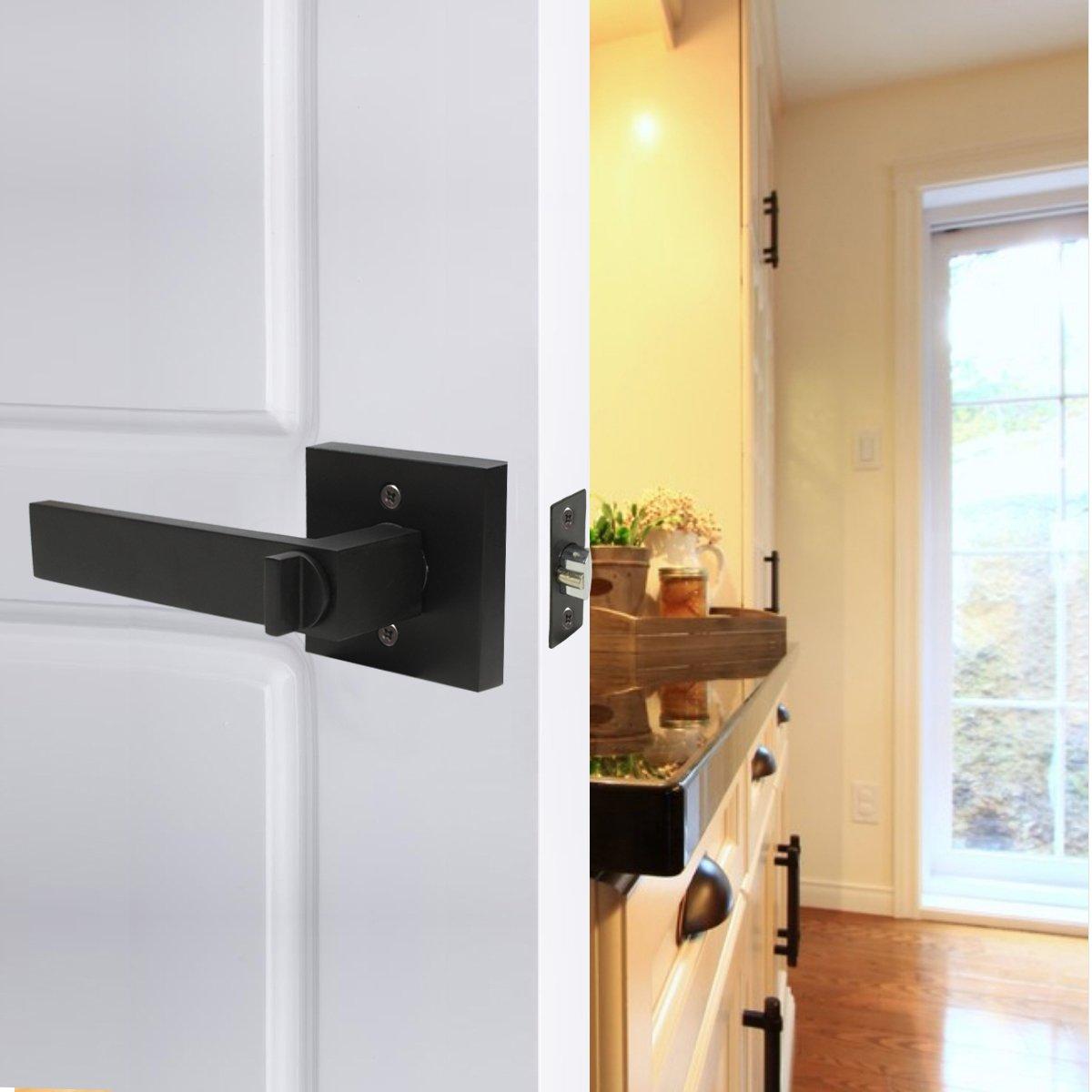 10 Pack Probrico Interior Bedroom Entrance Door Lever Doorknobs Door Lock One Keyway Entry Keyed Alike Same Key Entrance Lockset in Black Each with 3 Keys by Probrico (Image #8)