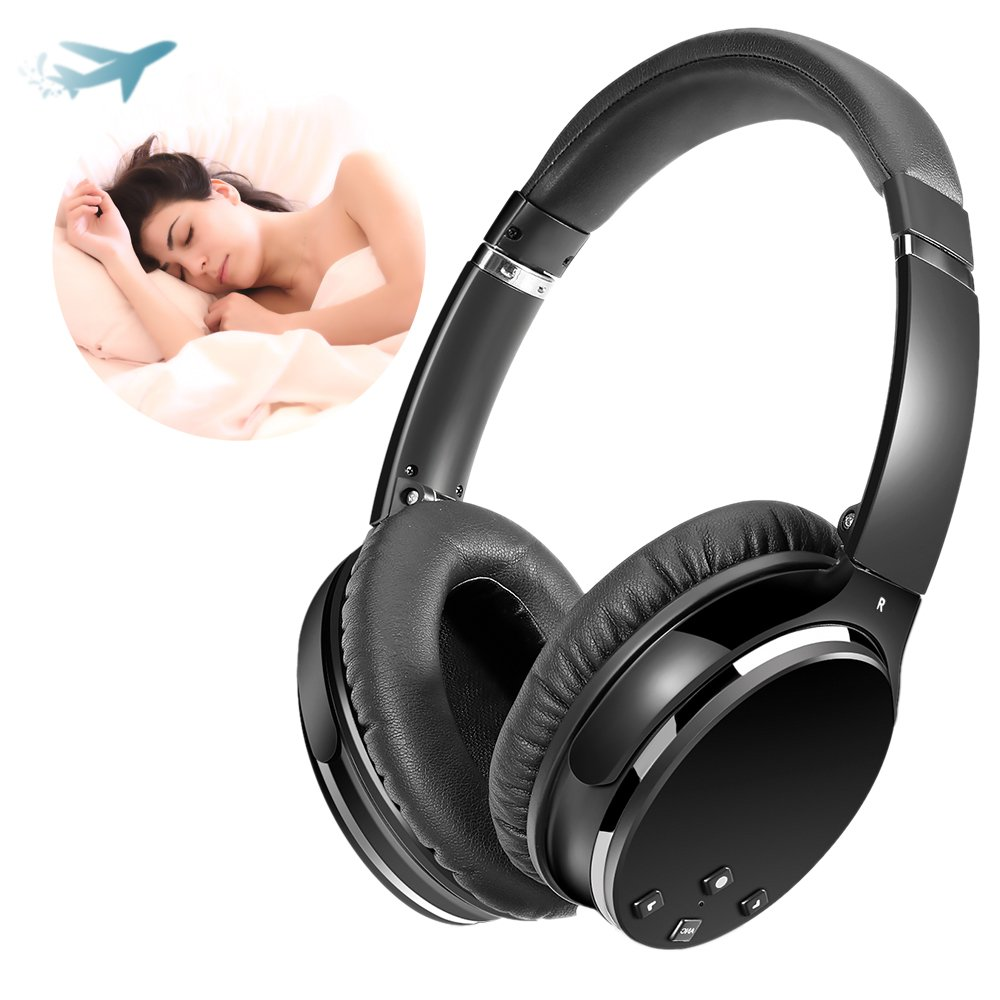 vnice auriculares Bluetooth, cancelación activa de ruido auriculares, graves profundos auriculares inalámbricos Hi-Fi auriculares de cable de carga y funda ...