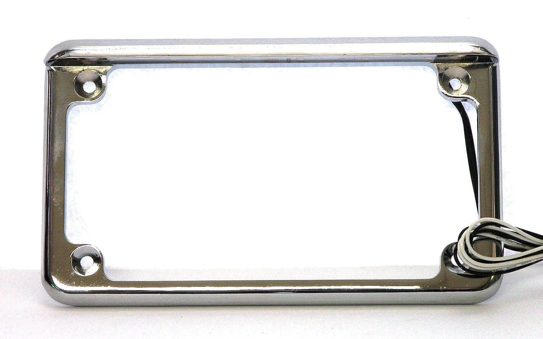 Complete Motorcycle License Plate Frame White LED 6' (Chrome) Radiantz