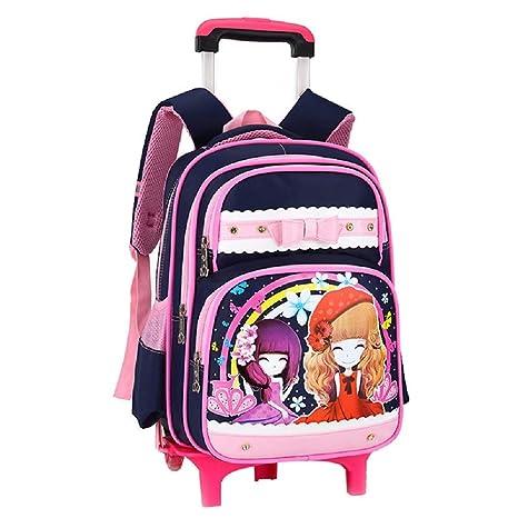 YiAmg Niños Mochilas Escolares Mochilas Lindas 2/6 Ruedas Extraíble Carrito Mochila Bolsa de equipaje