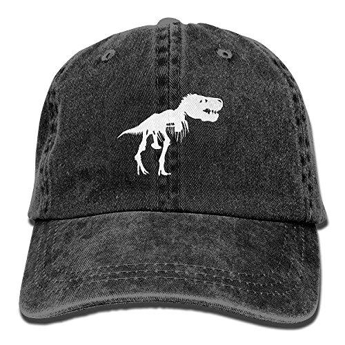 - Men&Women T Rex Skeleton Dinosaur Adjustable Vintage Washed Denim Cotton Dad Hat Baseball Caps Navy