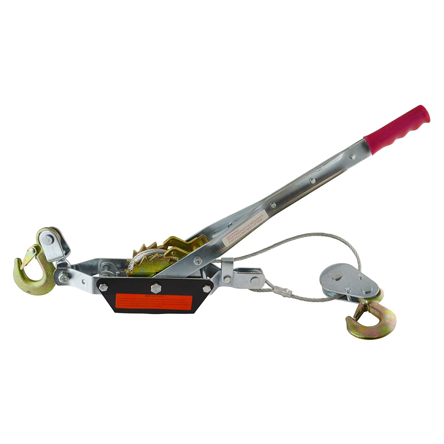 2 Ton Hand Power Wired Cable Puller Winch Turfer Pulley Soft Grip Handle TE817 AB Tools-Toolzone