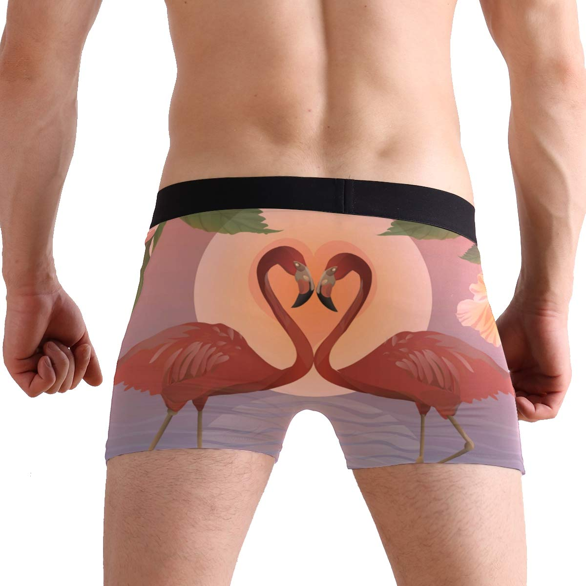 Men Boxer Briefs Polyester Underwear Men 2 Pack Boxer Briefs for Valentines Gift with Romantic Flamingos Pattern
