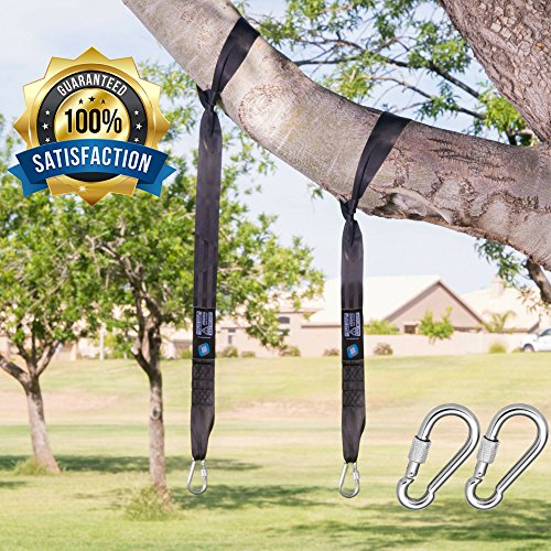 Swing Straps Kit (4FT) (1000 LBS): Tree Hanging Straps (2 Straps) - HEAVY DUTY Carabiners Perfect for Hammocks, Swings, Tires & Much More Resistant to WATER, SUN ABRASION 100% Satisfaction Guarantee