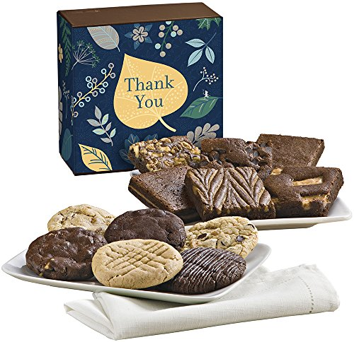 Fairytale Brownies Thank You Cookie & Brownie Combo Gourmet Food Gift Basket Chocolate Box - 3 Inch Square Full-Size Brownies And 3.25 Inch Cookies - 12 Pieces