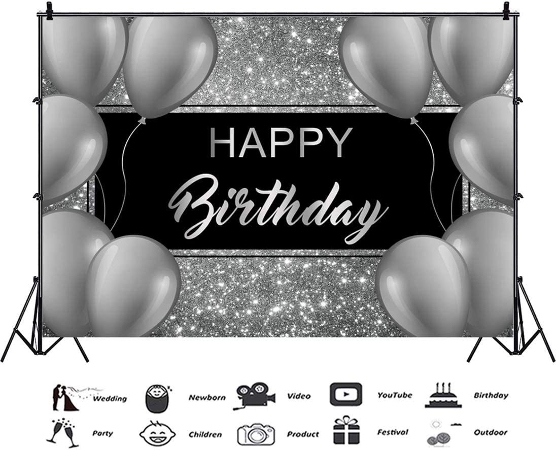 10x7ft Happy Birthday Vinyl Photography Background Dense Silver Spots Shiny Sliver Crown Banner Birthday Backdrop Child Kids Adult Birthday Party Banner Wallpaper Studio Photo Props
