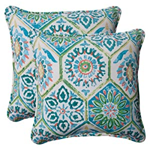 Pillow Perfect Indoor/Outdoor Summer Breeze Corded Throw Pillow, 18.5-Inch, Pool, Set of 2 from Pillow Perfect