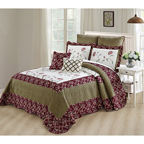 Home Soft Things Serenta Bedspread Coverlet Oversized Saigon 7 Piece Set, Queen, Green