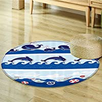 Nalahomeqq Nautical Baby Kids Toddler Room Decorations Collection Sea Animals Dolphins Fish Ocean Waves Polyester Fabric Room Circle carpet non-slip-Diameter 130cm(51)
