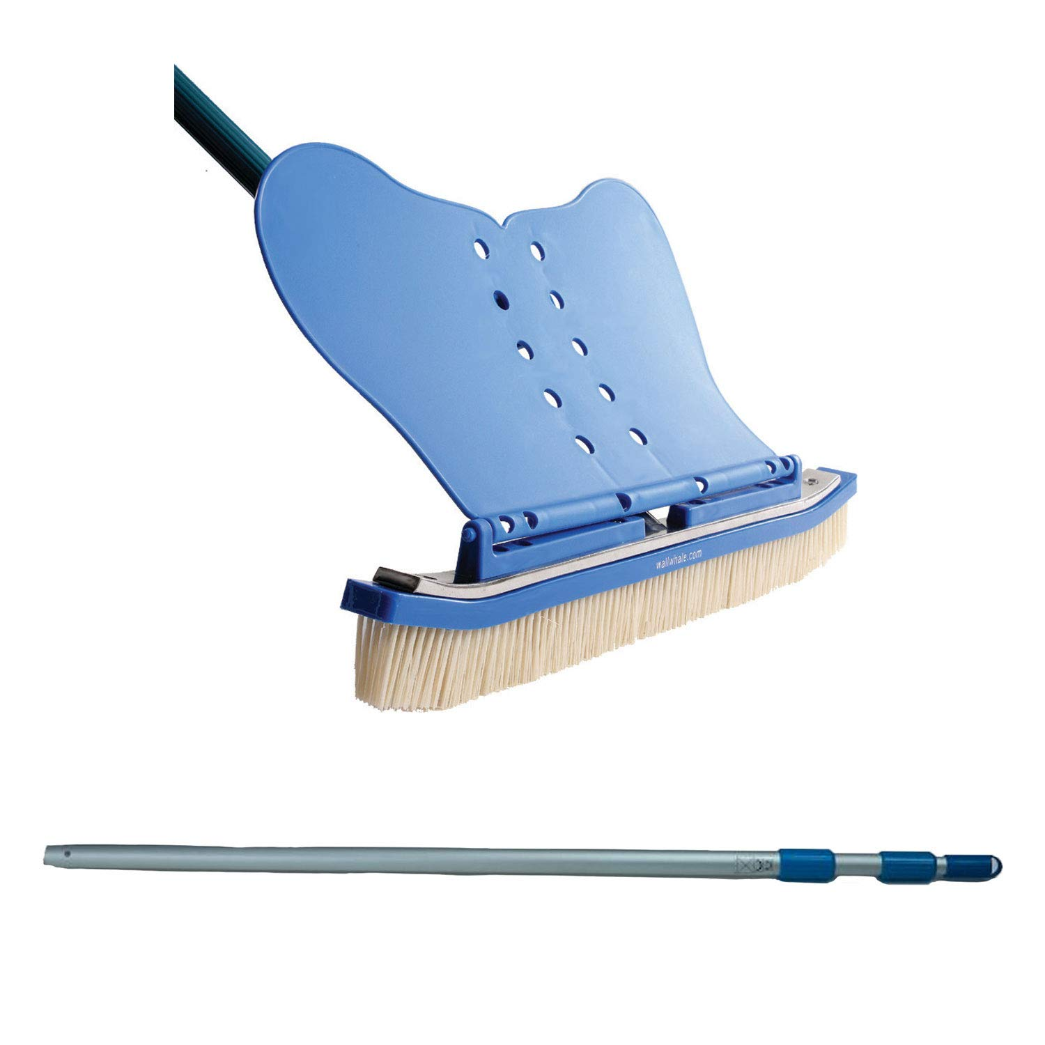 Wall Whale Classic 18 Inch Pool Wall Cleaning Brush + 94 Inch Telescoping Pole by Wall Whale