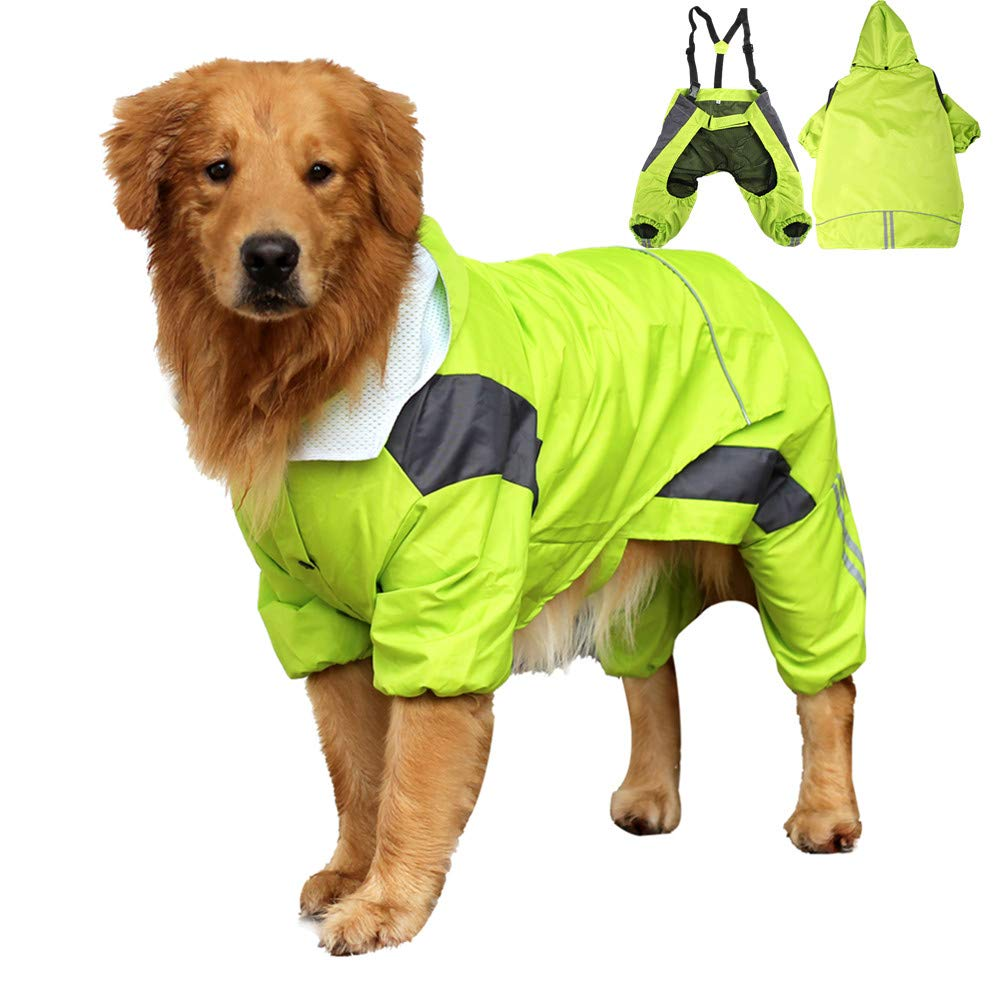 Yult Dog Raincoat Four Feet Waterproof Medium-Sized Large Dog Golden Hair with Hat Pet Waterproof Poncho, Windproof Rain Snow Jacket, for Rainy Days, Outdoor Adventure, Rescue (12#, Green)
