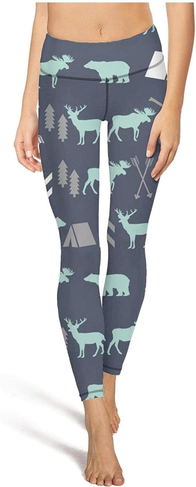 medssii Womens Yoga Pants Gray Leopard Print Super Soft Yoga Leggings with Pockets