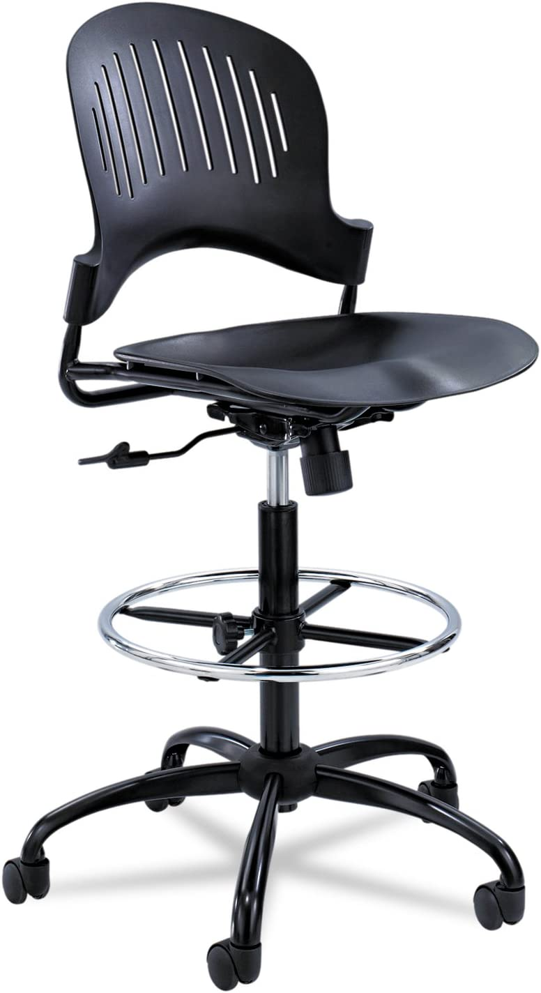 Black Safco Products 3385BL Zippi Plastic Stack Chair