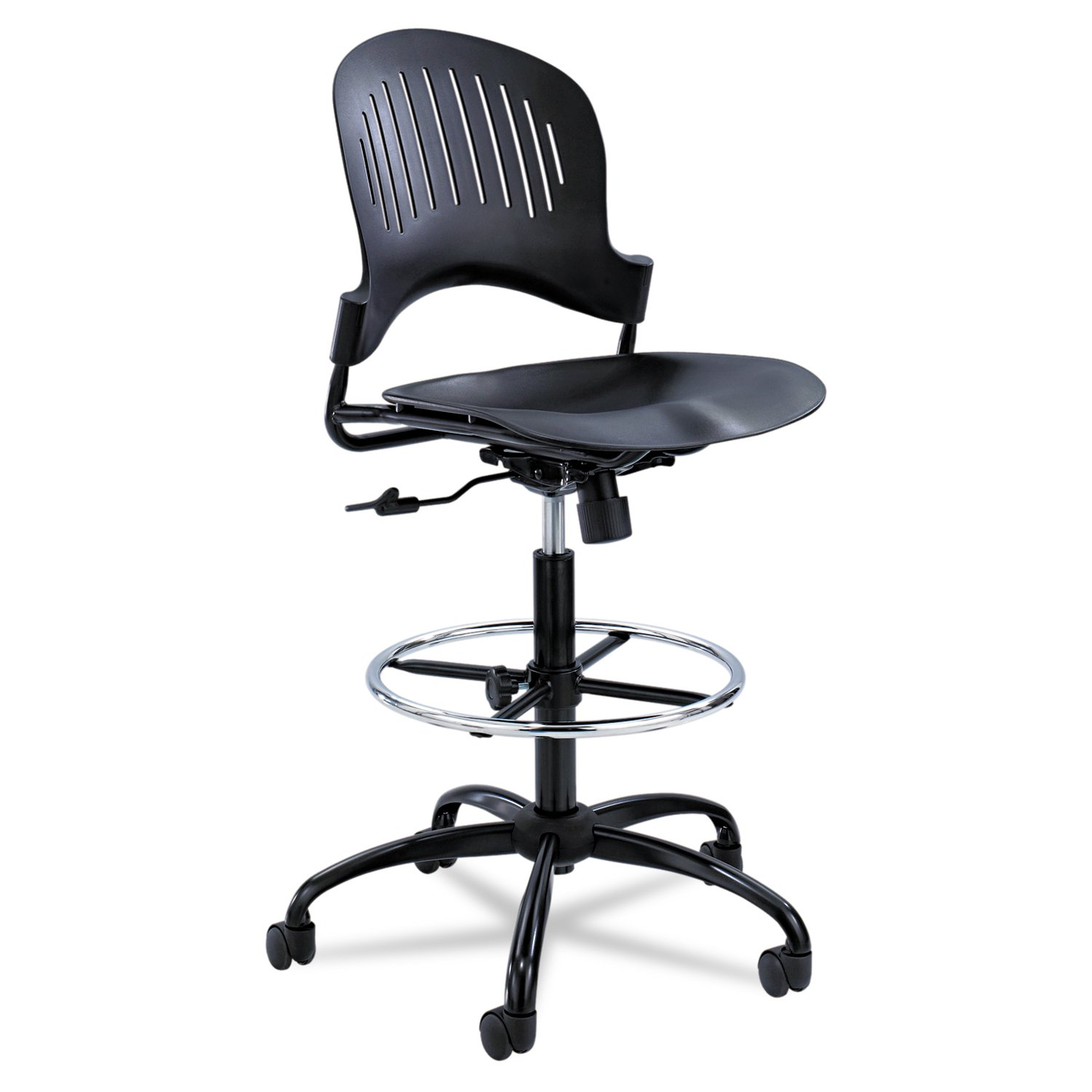 Safco Products 3386BL Zippi Plastic Extended Height Chair, Black