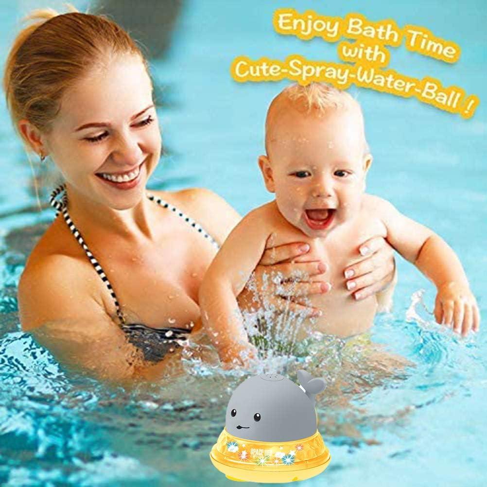 Spin Float HEITIGN Giocattoli da Bagno per Bambini Spruzzatore Automatico di Balene A Induzione con Luce A LED Giocattoli Galleggianti Ad Acqua Giocattoli per Vasca A Spruzzo Bianca