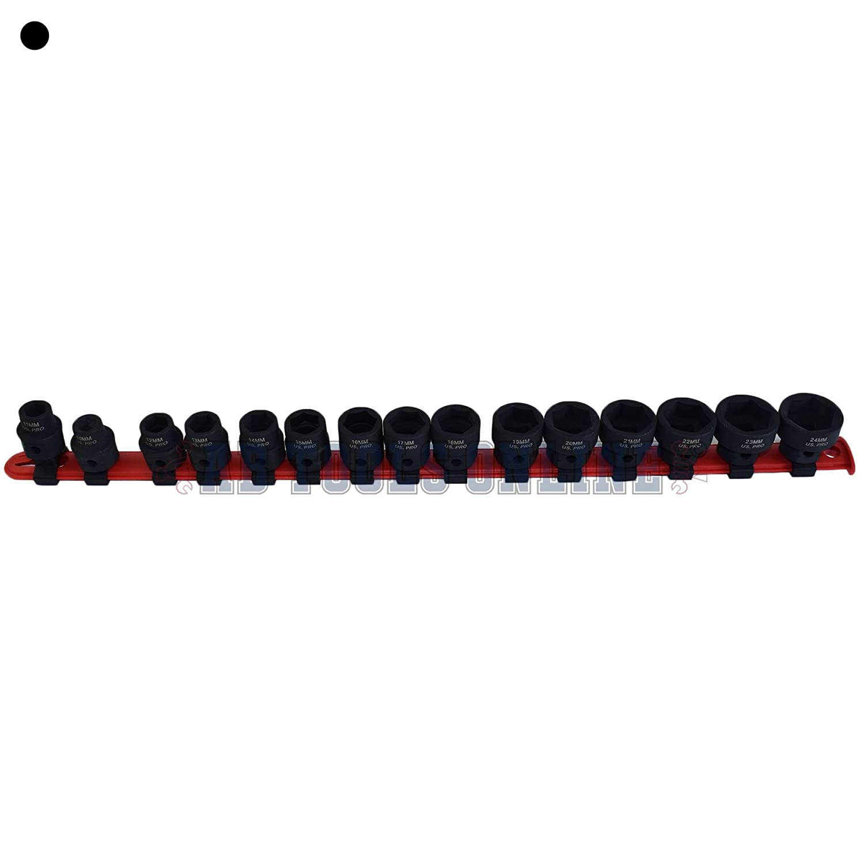 Cr-V 8-Sockets Metric TEKTON 4795 3//8-Inch Drive Shallow Impact Socket Set 19 mm 10 mm 6-Point
