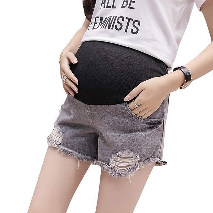 6386b2917 Pantalones Cortos De Maternidad Para Mujeres Cortos Retro Pantalones De  Mezclilla Para Mujeres Embarazadas Pantalones Vaqueros Desgastados De Moda  Vintage ...
