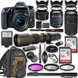 Canon EOS 77D DSLR Camera with 18-55mm Lens Bundle + Canon EF 75-300mm III Lens, Canon 50mm f/1.8 and 500mm Preset Lens + Canon Water Resistant Backpack + 64GB Memory + Monopod + Professional Bundle