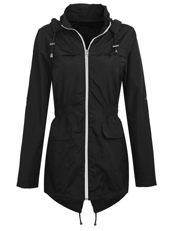 Tingwin Womens Outdoors Mid-Long Zips Solid Hooded Sportswear