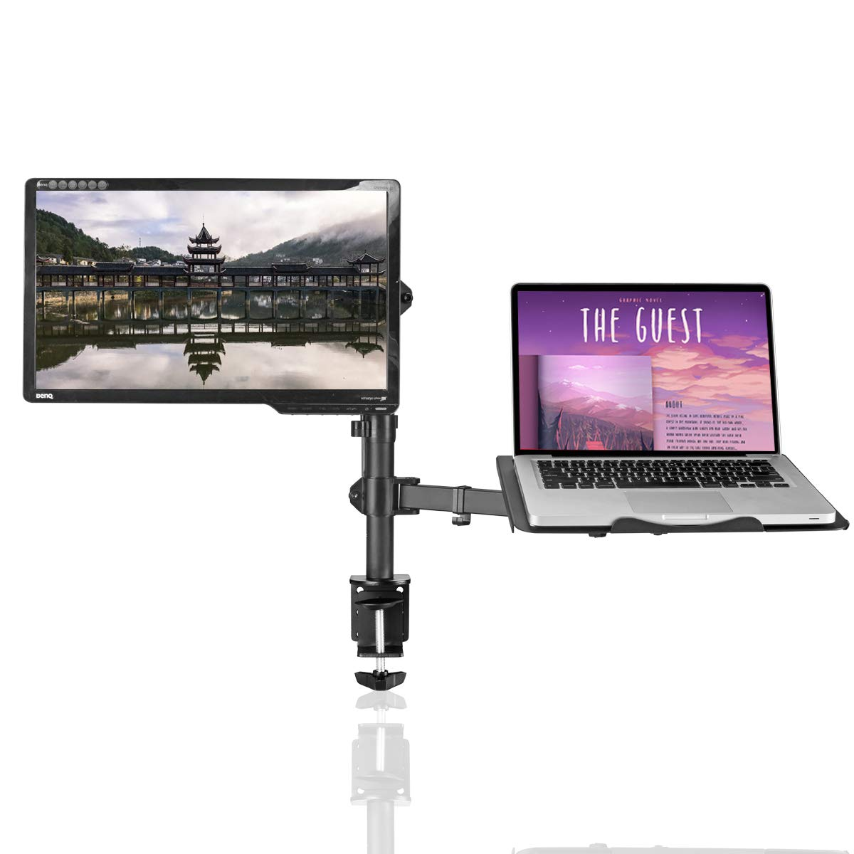 Suptek Full Motion Computer Monitor and Laptop Riser Desk Mount Stand, Height Adjustable (400mm), Fits 13-27 inch Screen and up to 17 inch Notebooks, VESA 75/100, up to 22lbs for Each (MD6432TP004)