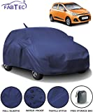 Fabtec Waterproof Car Body Cover for Hyundai Grand i10 with Mirror and Antenna Pocket and Storage Bag (Full Sized, Triple Stitched, Fully Elastic) (Navy Blue)
