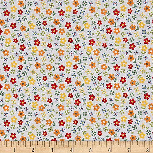 Penny Rose Gingham Girls Calico Fabric by the Yard, White
