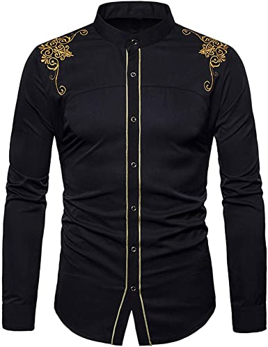 VPASS Hombre Camisas, Camisas de Vestir Manga Larga Camisas Formales Casual Color Sólido Bordado Traje Impresión Primavera Negocios Camisa de Moda Slim Fit Long Sleeve Tops Shirt: Amazon.es: Ropa y accesorios