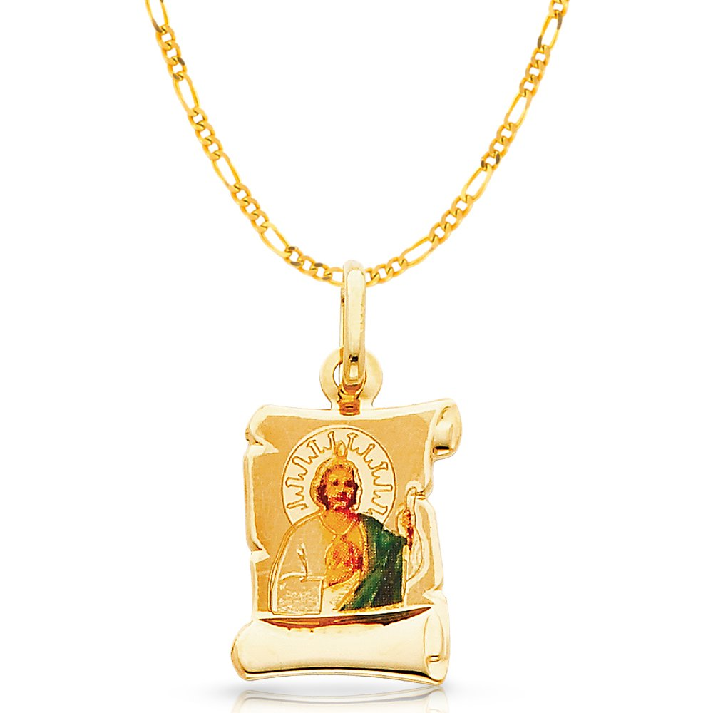 14K Yellow Gold St Jude Enamel Picture Charm Pendant with 2mm Figaro 3+1 Chain Necklace