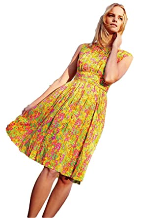 Boden Yellow Green Selina Floral Dress Size Us 4 P At Amazon Women S