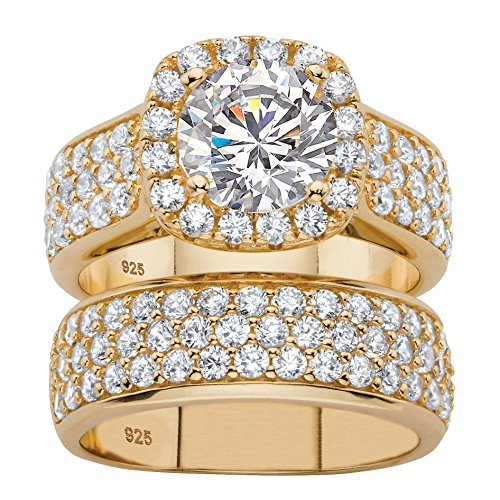 Yellow Gold Wedding Set (White Cubic Zirconia 14k Gold over .925 Silver 2-Piece Halo Bridal Wedding Ring Set Size 6)