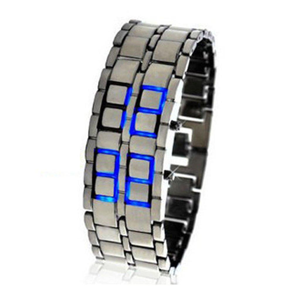 Nicerocker Hot Lava Black Stainless Steel Lava RED LED Digital Bracelet Watch Blue
