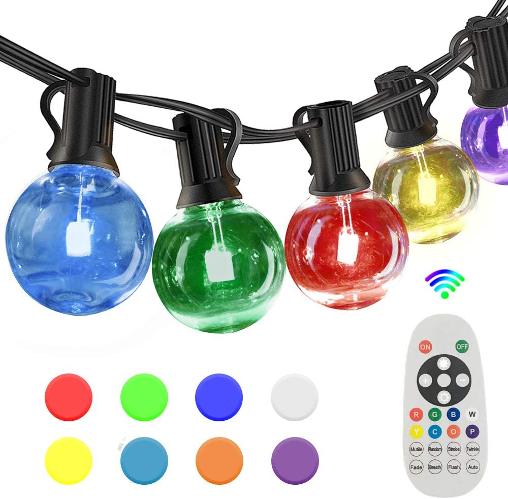 SUNTHIN 27FT Colored LED Outdoor String Lights for Holiday Party Lights, Patio Backyard, Home and Outdoor Decorative, with Shatterproof RGB G40 Globe Bulb and Wireless 2.4G Remote Controller