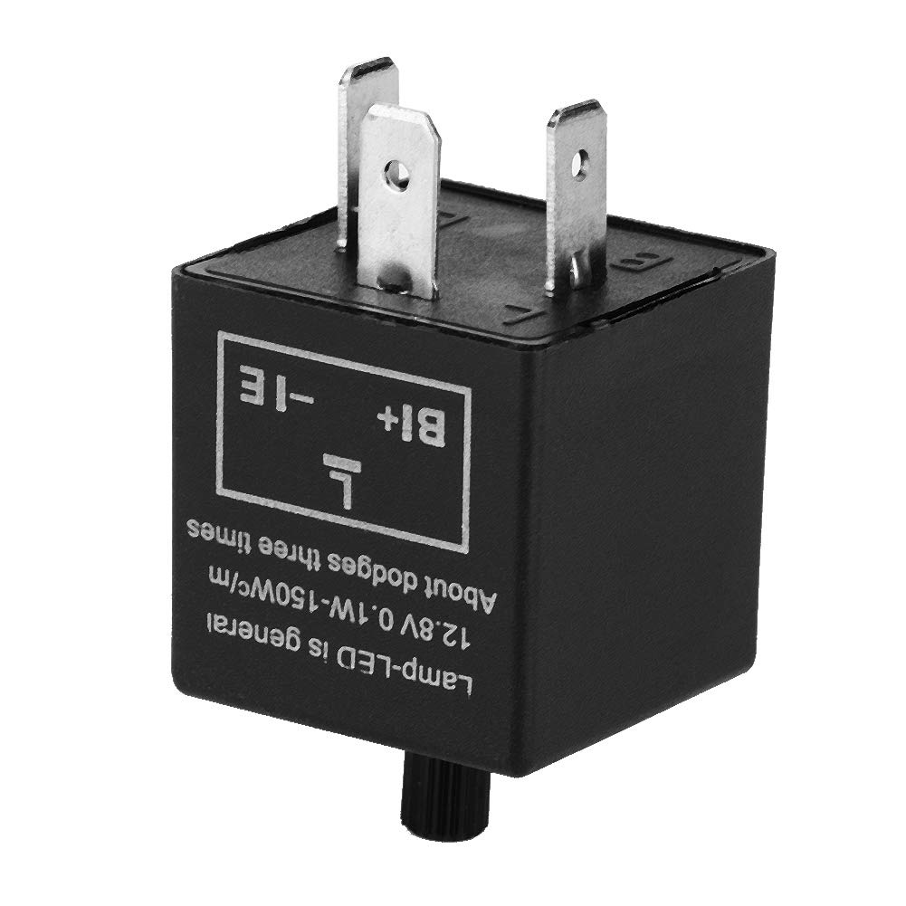 Velocidad ajustable LED luz intermitente intermitente Rel/é de resistencia al desgaste para indicador de se/ñal de giro 12V 3 pines