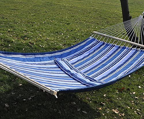 Hamaca de jardín doble acolchado con almohada gran cama traviesas Camping balancín silla mecedora: Amazon.es: Jardín