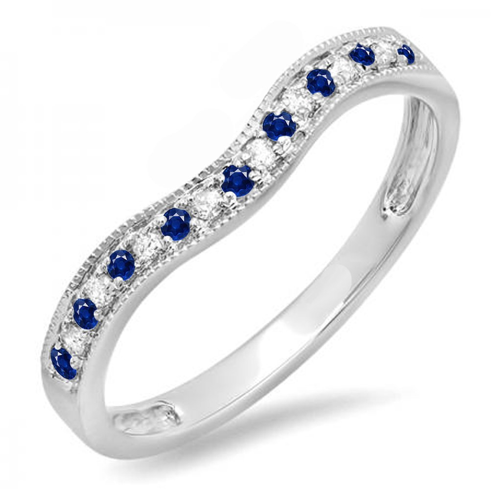 14K White Gold Blue Sapphire & White Diamond Ladies Anniversary Wedding Band Guard Ring (Size 6.5)