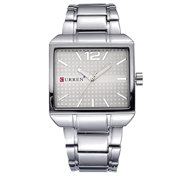 73a7f4c55e0 Classic square case men s watch silver dial watch stainless steel band analog  watch casual joker wrist