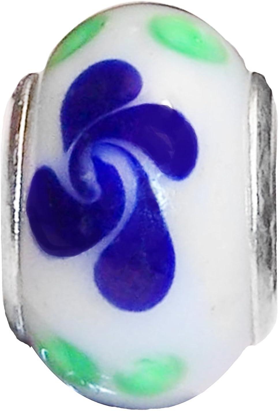 Unique Fashion Charms and Bracelets Blue White Murano Glass Heart Dangle Charm for Silver European Slide Bracelets