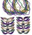 Mardi Gras Face Mask & Beads - Mardi Gras Mask Bulk - Mardi Gras Necklaces - Mardi Gras Costumes by Funny Party Hats